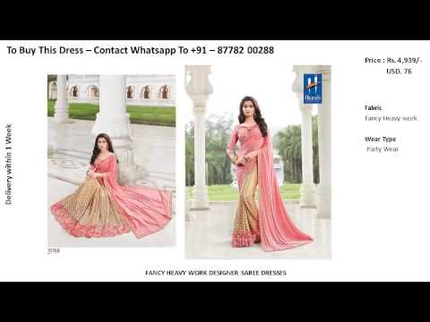 Buy Online (4.5 to 5.1) - Latest Modern Fancy Heavy Work Designer Saree - Bridal Party Wear
