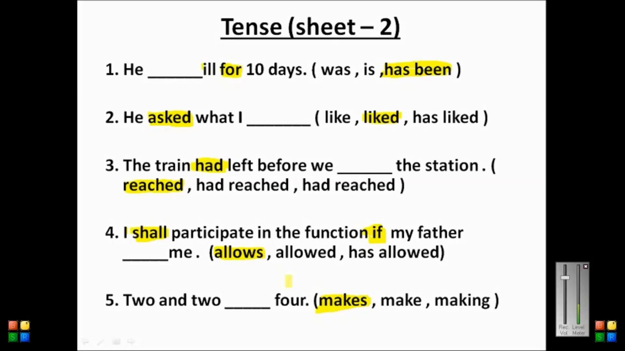 Tense (practice Set 2)  Youtube