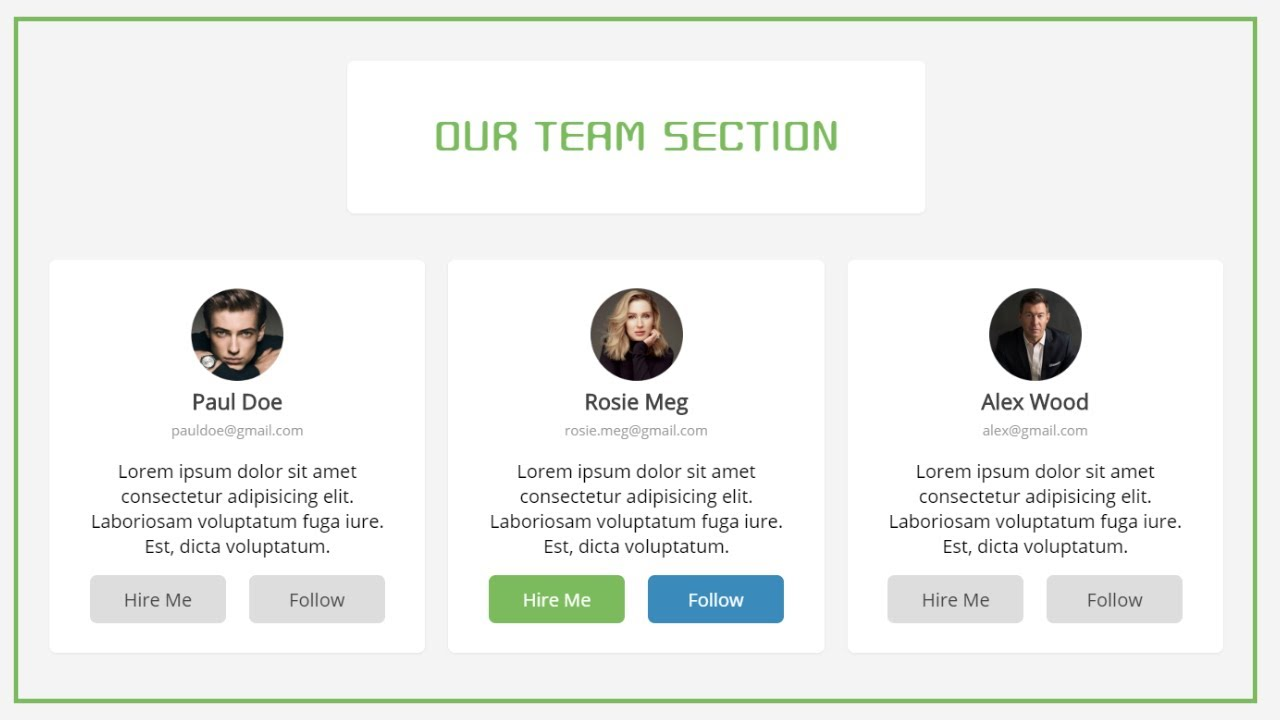 Responsive Our Team Section Using FlexBox | Our Team Section Tutorial