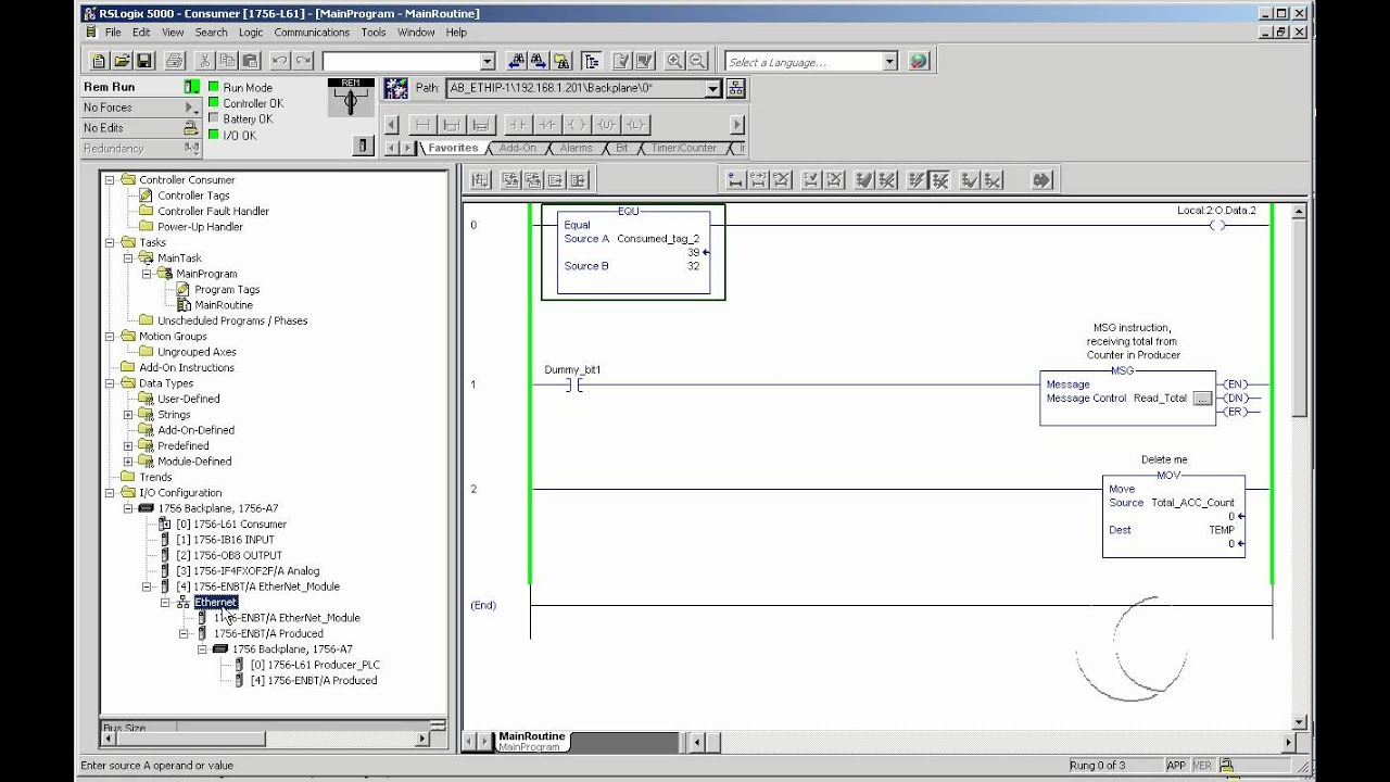 how to configure a produce and consume tag in rslogix5000 [ 1280 x 720 Pixel ]