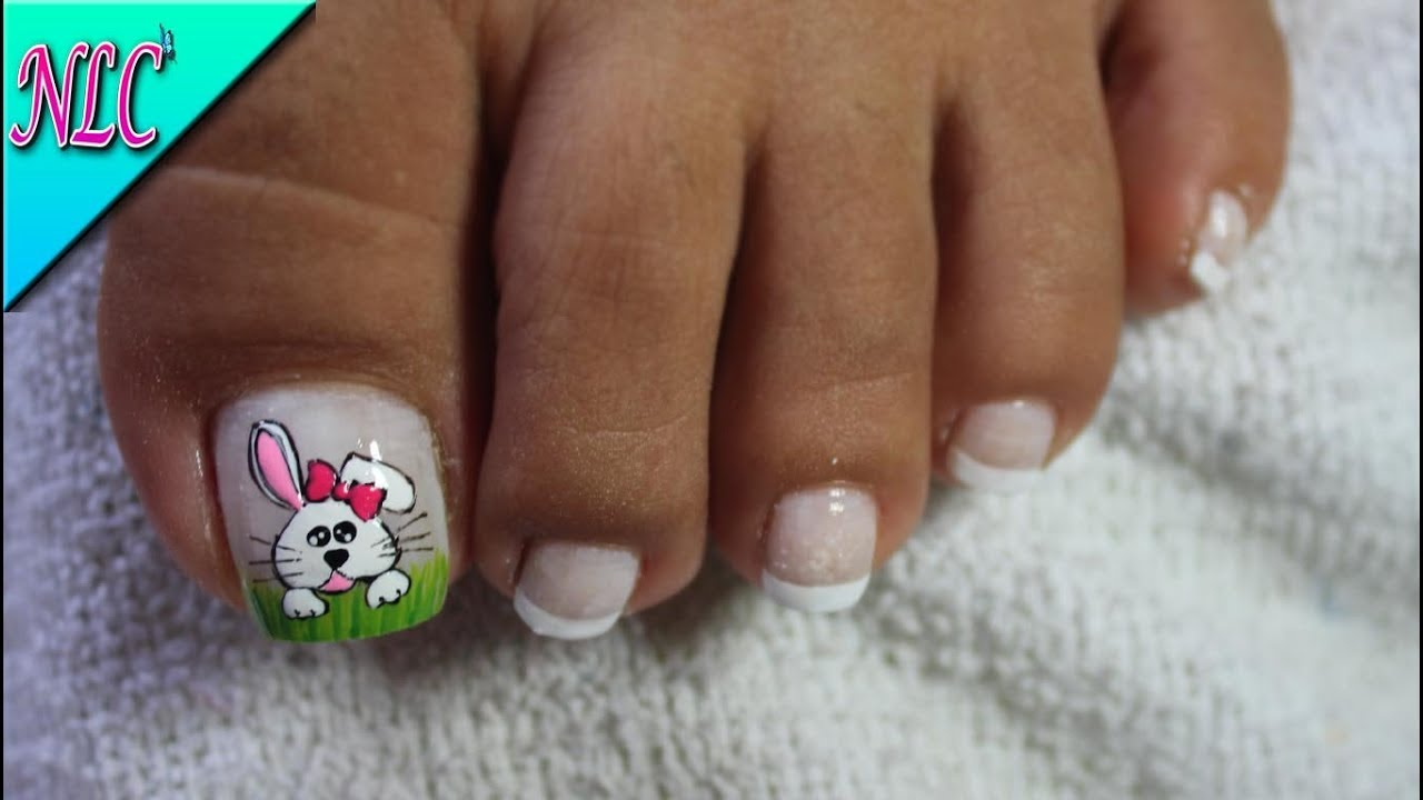 Decoraci n de u as para pies conejita bunny nail art - Decoracion de pies ...