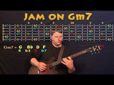 Guitar Jam Lesson - G Minor - Gm7 - G Bb D F -  JAMTRACK - M.M.=60