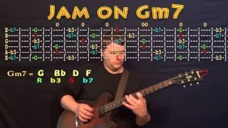 Guitar Jam Lesson - G Minor - Gm7 - G Bb D F -  JAMTRACK - M.M.=60