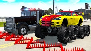 Police Spike Strip Crashes #21 - Beamng drive