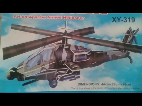 Making and unboxing of 3D puzzle or model of AH-64 Apache armed helicopter slow