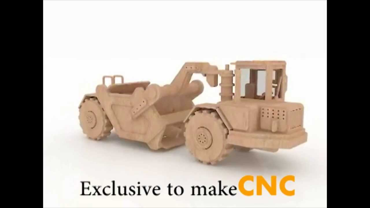 Scraper Excavator Wood Toy Pattern For Cnc Router And