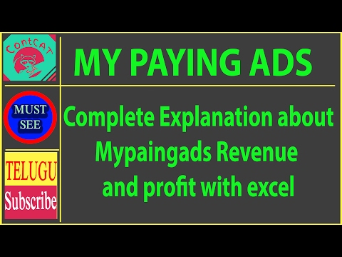 Telugu - Complete Explanation about Mypaingads Revenue and profit with excel