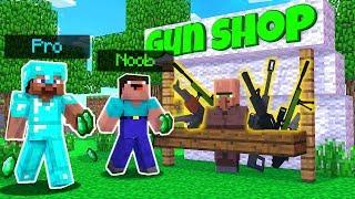 NOOB VS PRO - GUN SHOP CHALLENGE IN MINECRAFT BATTLE