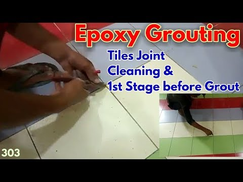 Epoxy Grouting 1st Step    Removing Dust and Cleaning Tiles Joint Before Epoxy Grout    Tile Grout