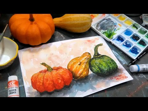 Let's Paint Gourds in Watercolors REAL TIME Tutorial & NEO Watercolor Review