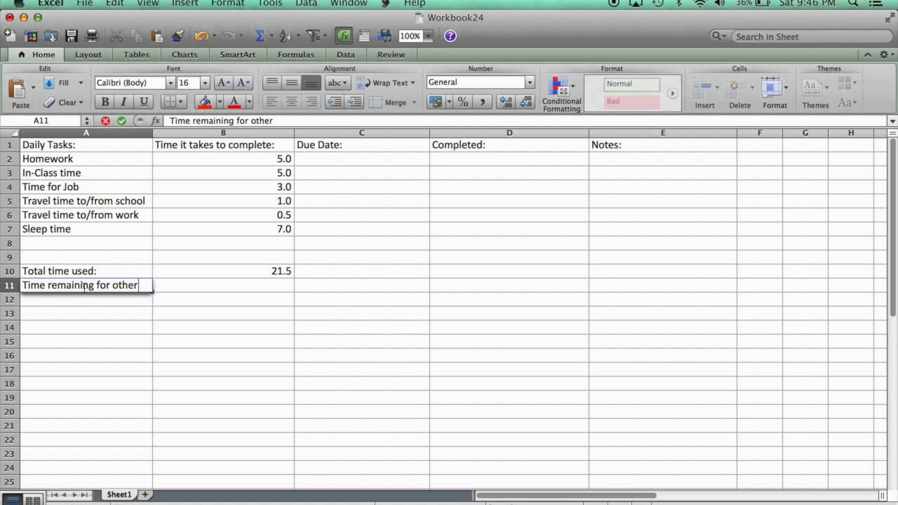 task manager in excel