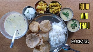 (INDIAN FOOD) GUJARATI MINI THALI MUKBANG