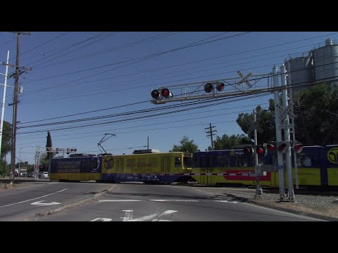 Jackson Rd. (CA 16) Railroad Crossing, Sacramento Light Rail Trains, Sacramento California