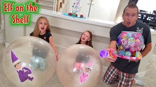 Elf on the Shelf! Elves Caught in Giant Balloons! Pikmi Pops Bubble Drops Challenge! Day 3