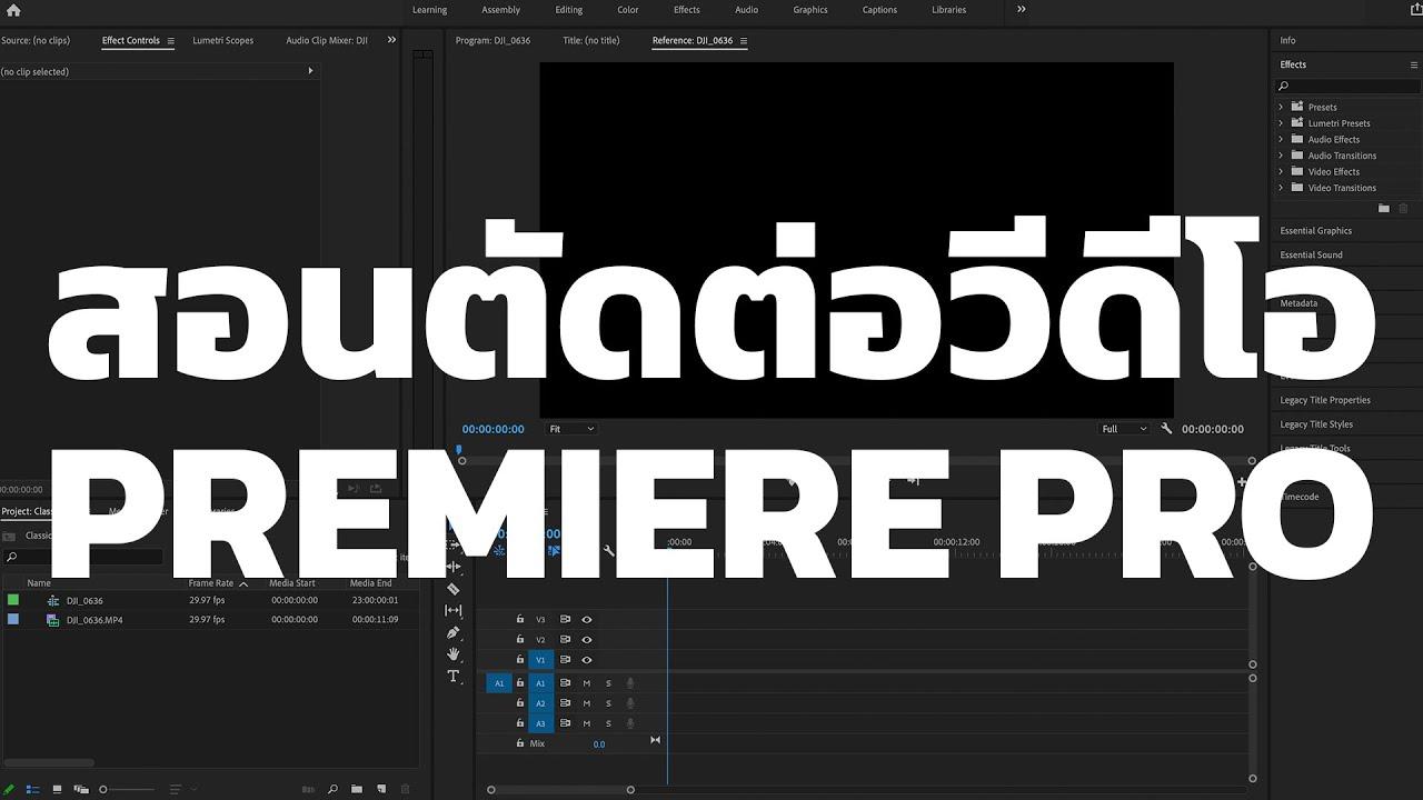 สอนตัดต่อวีดีโอ Premiere Pro 2021
