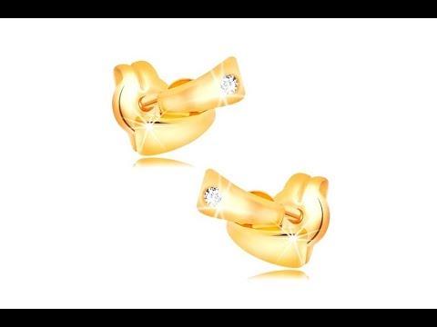 e26fab3cf Šperky - Diamantové náušnice v žltom 14K zlate - dva malé oblúky, číry  briliant