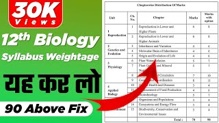 Class12th Biology Syllabus weightage of MH state board  Biology Syllabus weightage 12th new syllabus