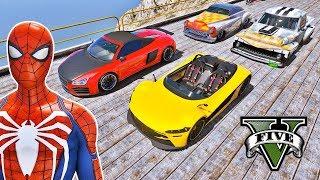 SUPER CARROS com Homem Aranha e Heróis! Competição com Carros na Mega Rampa - GTA V Mods - IR GAMES