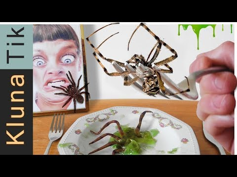 EATING SPIDERS!!! Kluna Tik Dinner | ASMR eating sounds no talk Есть пауки, Comiendo, SPINNER ESSEN
