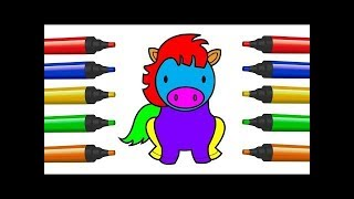 Cómo dibujar caballos para niños Aprender colores | Draw Horse For Kids Paintin Drawing Learn Colors