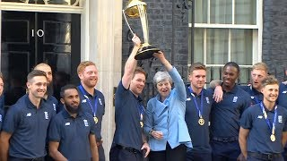 Prime Minister Theresa May hosts England World Cup winning cricket team at Downing Street