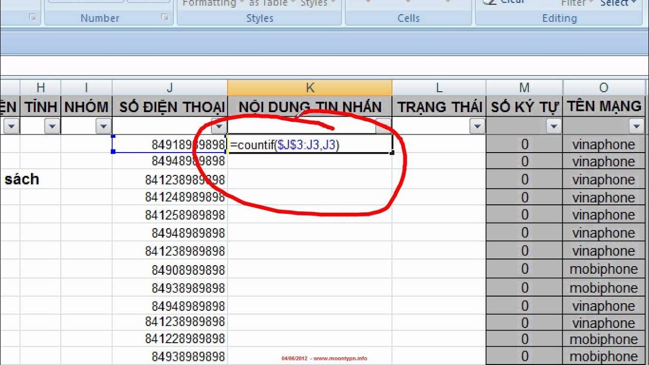 Hướng dẫn lọc số điện thoại trùng trong SMS Excel V6.8