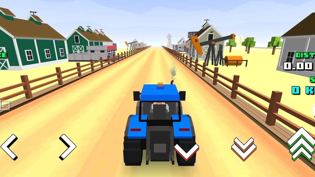 Blocky Farm & Racing #FarmingWorld - Android GamePlay | RACE MODE | blue Tractor 2020