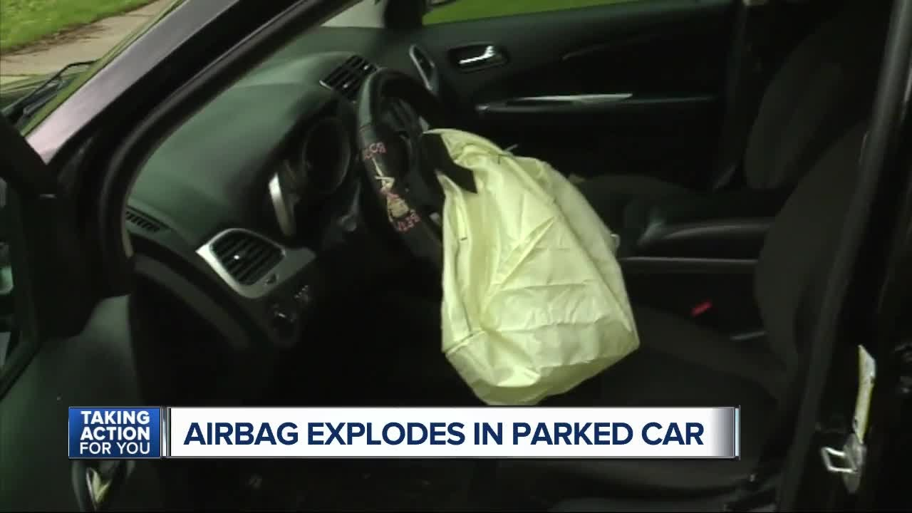 airbag explodes in parked car