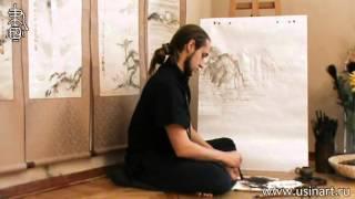 """Уроки по пейзажной живописи у-син. Урок 15.1 """"Как изображать водную гладь и отражение 1"""""""