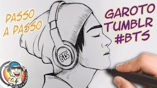 HOW TO DRAW BOY TUMBLR #BTS - step by step