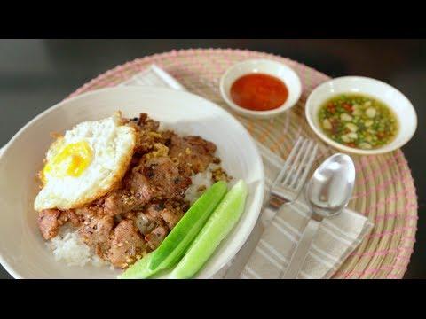 CIY023 : ข้าวหมูกระเทียม (Fried Sliced Pork with Garlic)