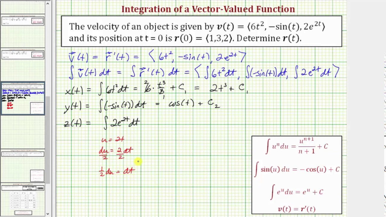Integrate a Velocity Vector-Valued Function to Find Position Function