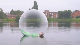 I Spent the Night on a Lake in a Zorb Ball & It Was Insane (Sleep on a Lake Challenge) thumbnail