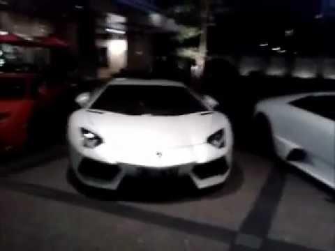 Lamborghini Murcielago and 2 Lamborghini Aventadors Spotted at Parking Lot of Jakarta, Indonesia