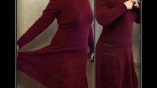 теплое платье, вязание спицами