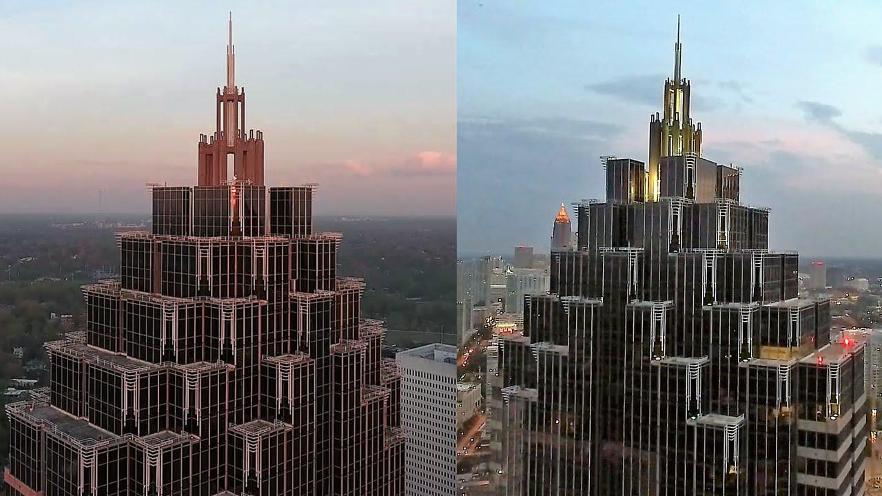 uav drone views of atlanta s 7th tallest skyscraper promenade ii