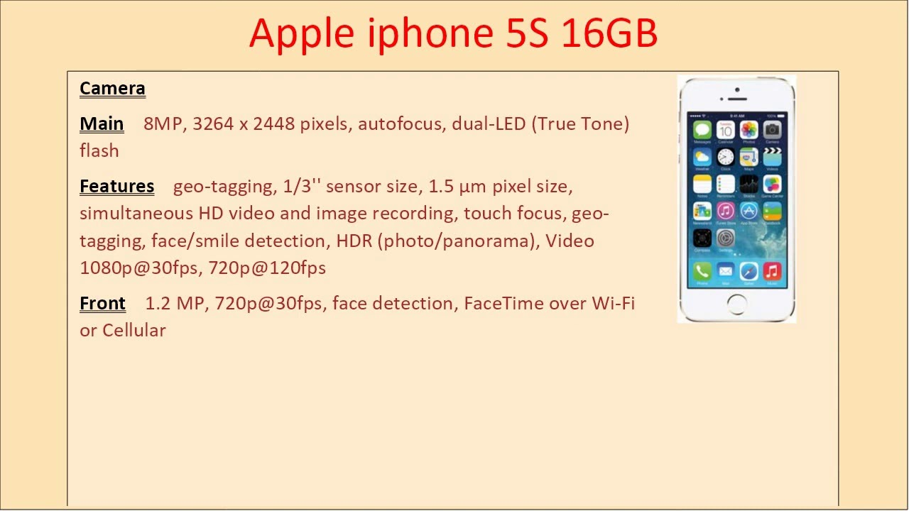 Apple Iphone 5s 16gb Price Full Mobile Phone Specifications