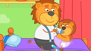 Lion Family Daddy is Babysitter Cartoon for Kids