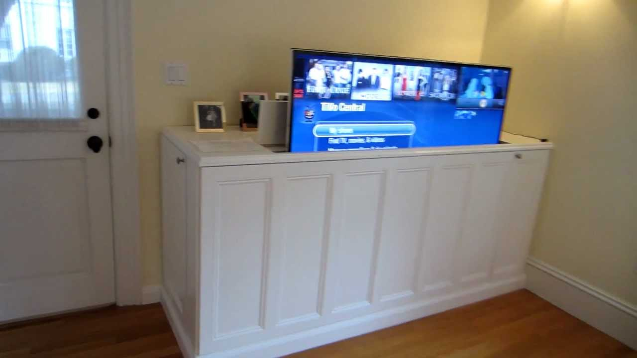 tv lift cabinet first video youtube. Black Bedroom Furniture Sets. Home Design Ideas