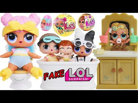 LOL Surprise! Dolls Lil Luxe + Big Sisters Fake vs Real DIY Custom Series 3 Shopkins Happy Places!