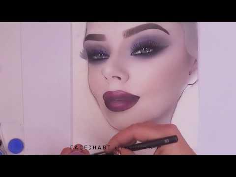 Face Chart   Makeup on paper   Klaudia Owsczarek