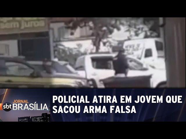 Policial atira em jovem que sacou arma falsa durante abordagem | Jornal SBT Brasília 21/02/2019