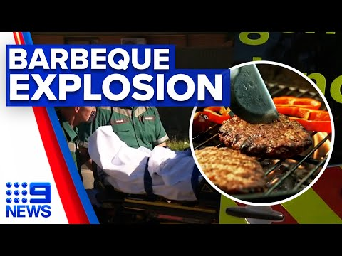 Man with serious burns after barbeque explodes | 9 News Australia thumbnail