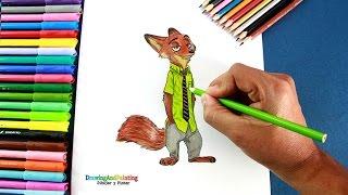 How to draw NICK WILDE (Zootopia)   Como dibujar al zorro Nick Wilde de película Zootopia