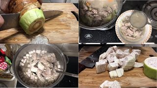 How to Cook Pork Spare Ribs with Gabi (Pork with Taro Soup) Filipino Style