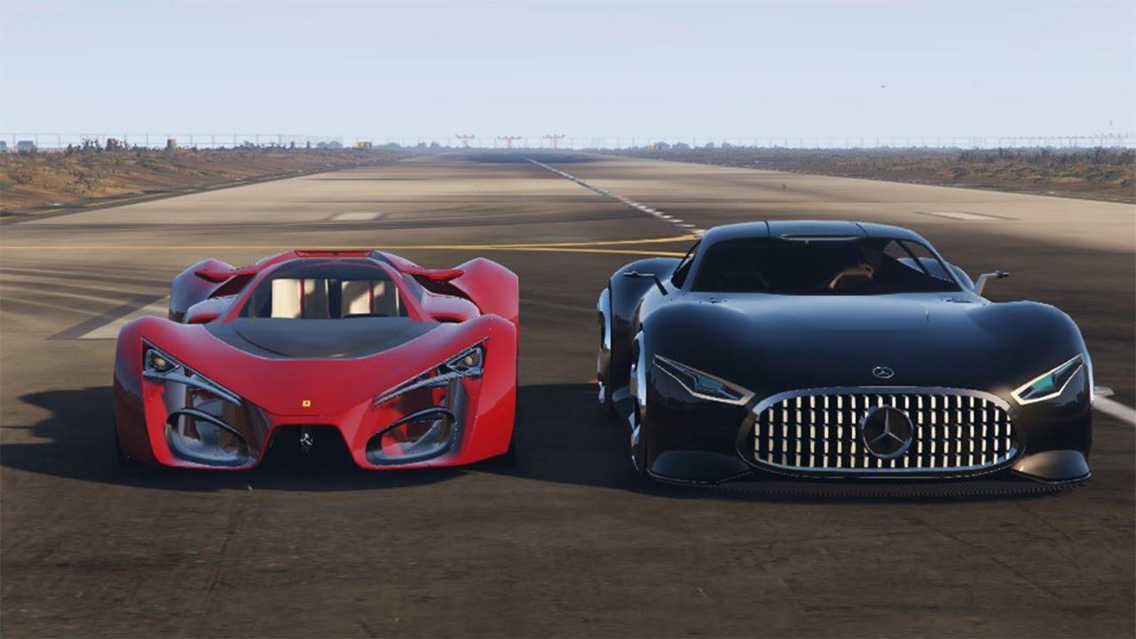 Gta 5 Mod Ferrari F80 Vs Mercedes Benz Amg Vision Gt Concept Car Youtube