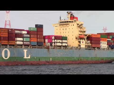 Container Ship MOL EMISSARY Inbound into Halifax, NS, Canada