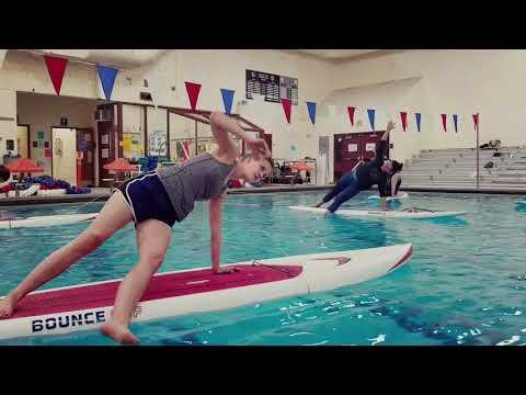 Indoor SUP Yoga at Riverton Pool in Portland, Maine