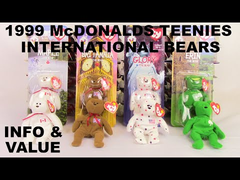 1999 McDONALD'S INTERNATIONAL BEARS TY Teenie Beanies (Maple, Britannia, Glory & Erin) Value & Info