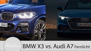 BMW X3 Adaptiver LED-Scheinwerfer vs. Audi A7 HD-Matrix-LED mit Laserlicht [4K] - Autophorie